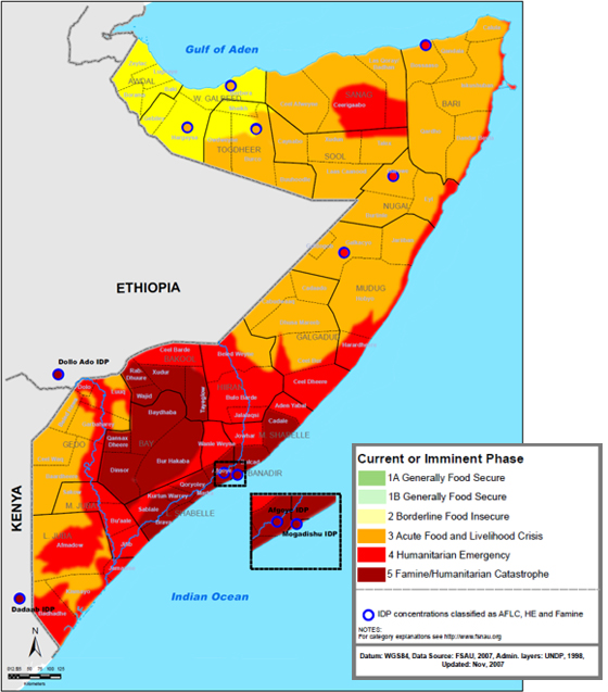 <strong>Somalia famine 2011.</strong>Food supplies ranged from borderline (yellow) to famine
