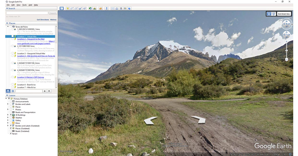 Geofacets with Google Earth Street View