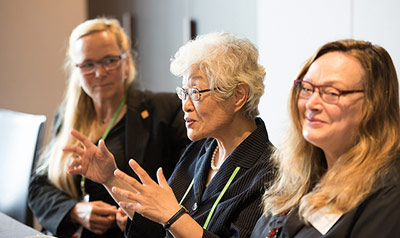 Heisook Lee, PhD (center) at a meeting with Astrid Linder, PhD, Research Director of Traffic Safety for the Swedish National Road and Transport Research Institute (left) and Elizabeth Pollitzer, PhD, co-founder and Director of Portia Ltd and an architect of the Gender Summit.