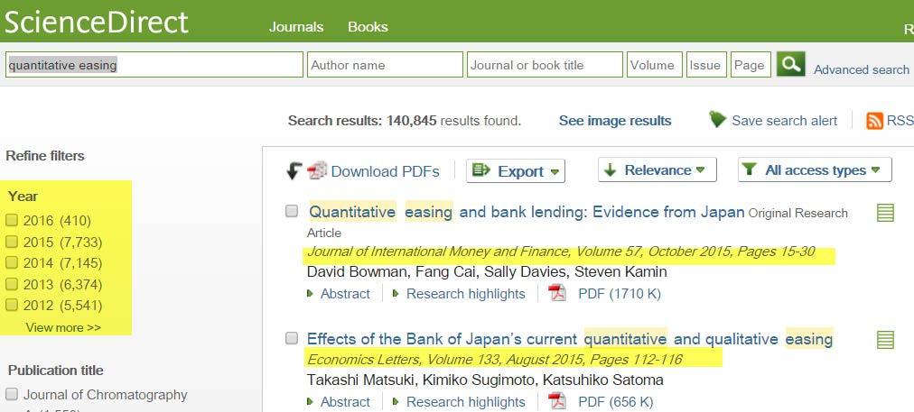ScienceDirect search for 'quantitative easing