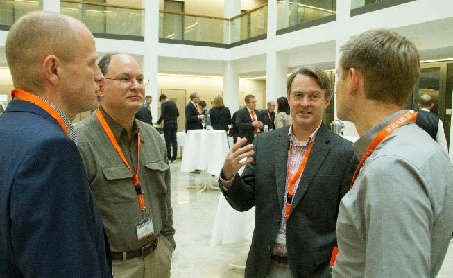 Prof. Frank Slack (second from right), Director of the Institute for RNA-Medicine at Beth Israel Deaconess Medical Center in Boston, talks to (left to right) Dr. Markus Landthaler, Prof. Nils Walter and Prof. Gunter Meister at the 2nd Berlin Translational Dialogue.