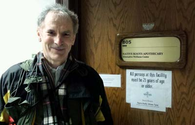 David Levine, the author of this story, visits the Native Roots Apothecary in Denver, Colorado. No photos were allowed inside to protect the confidentiality of patients who were there to buy medical marijuana.