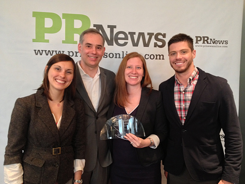 <strong>The Elsevier Health Sciences Customer Marketing Team won a 2013 PR News Social Media Icon Awards for their Med Student Survival Guide Facebook Campaign.</strong> From left to right: Courtney D&rsquo;Avella, Associate Brand Manager, Kevin Lawrence, Marketing Director
