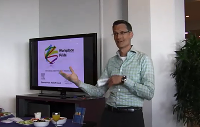 Michiel Kolman speaks at Elsevier Pride launch event in Amsterdam.