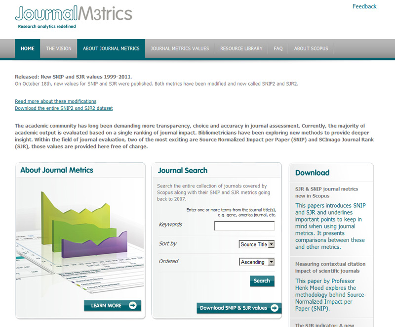 Elsevier's Journal Metrics website