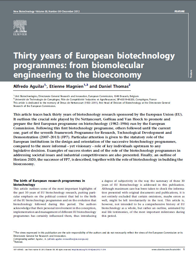 Thirty years of European biotechnology programmes