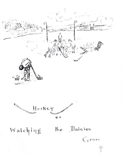 "<strong>Hockey or watching the daisies grow? </strong> Alan Turing, World War II codebreaker and the ""father of computer science,"" was thought to have Asperger's syndrome. A drawing by Alan Turing's mother at his preparatory school, Hazelhurst, Sussex, 1923. This image, courtesy of Sherborne School, appeared in the book <em>Alan Turing: His Work and Impact</em> (Elsevier 2013)"