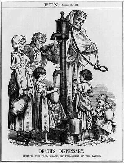 """George Pinwell's caricature of the Broad Street pump was published in London's <em> Fun Magaziine</em> in 1866. The caption: """"Open to the poor by permission of the parish."""""""