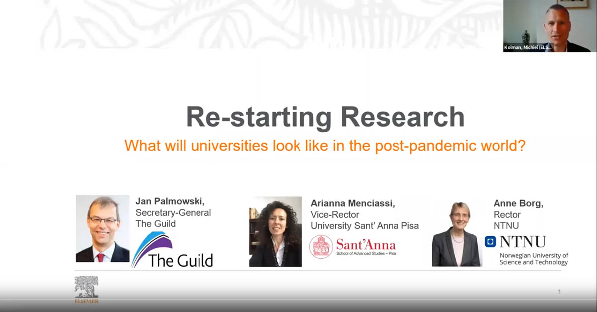 Restarting universities webinar screen