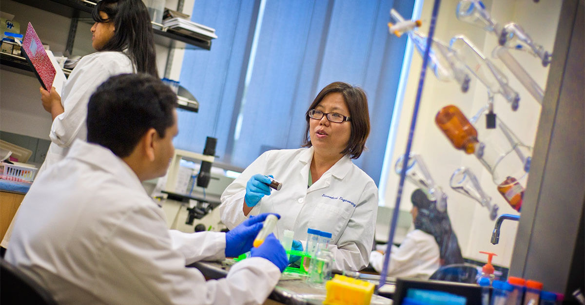 Prof. Kytai Nguyen in her lab in the Department of Bioengineering at the University of Texas at Arlington