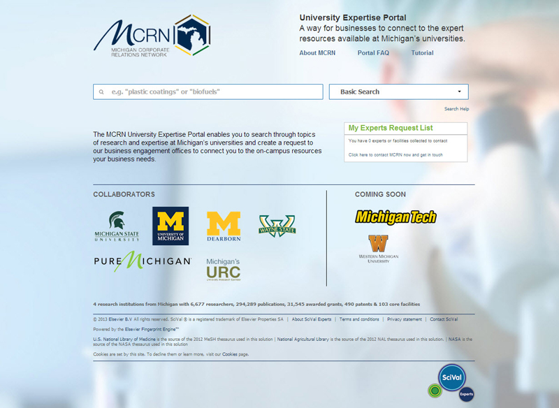 The home page of the MCRN Expertise and Resource Portal