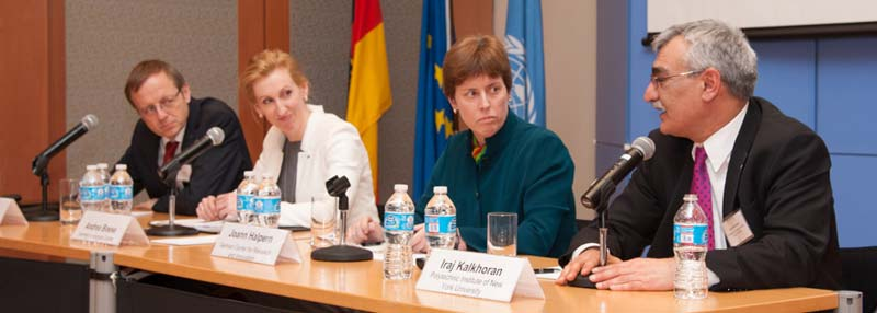 "Experts discuss efforts to bring diversity into the workplace at an event called ""Engaging Women in STEM: Perspectives from the United States and Germany,"" held in December at the German Center for Research and Innovation in New York City. From left to right: Jan Wörner, Andrea Boese, Joann Halpern (moderator) and Iraj Kalkhoran. (Photos by Nathalie Schueller)"