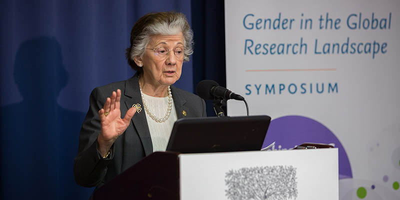 Prof. Rita Colwell, PhD, Chair of the National Academics of Sciences Committee on Women in Science, Engineering, and Medicine, gives the keynote address.