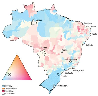 "Probabilistic dengue forecast for Brazil, June 2014. The continuous colour palette (ternary phase diagram) conveys the probabilities assigned to low-risk, medium-risk, and high-risk dengue categories. Category boundaries defined as 100 cases per 100, 000 inhabitants and 300 cases per 100,000 inhabitants. The greater the colour saturation, the more certain is the forecast of a particular outcome. Strong red shows a high probability of high dengue risk. Strong blue indicates a high probability of low dengue risk. Colours close to white indicate a forecast similar to the benchmark. (Source: Rachel Lowe, PhD, et al: ""Dengue outlook for the World Cup in Brazil...,""The Lancet Infectious Diseases)"