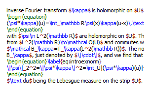 A sample of LaTeX markup language.