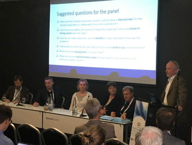 Panelists from left to right: Dr. Paolo Budroni (University of Vienna), Dr. Helena Cousijn (Elsevier), Dr. Mark Hahnel (Figshare), Dr. Ignasi Labastida (University of Barcelona) and Ingeborg Meijer (CWTS), and moderator Dr. Jean-Claude Burgelman, European Commission.