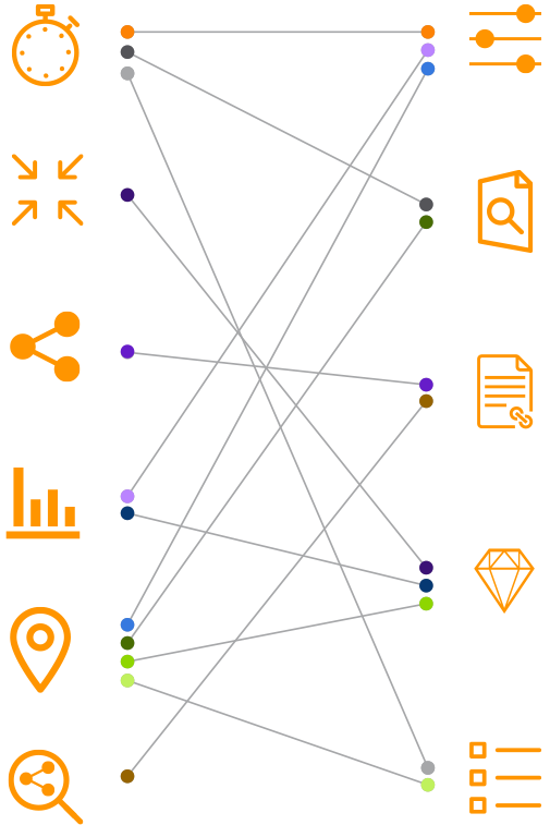 Illustration with orange icons and grey vectors | Elsevier
