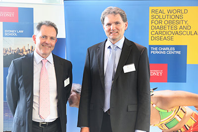 Guest editors Paul Griffiths, PhD, Professor of Philosophy at the University of Sydney, and Roger Magnusson, PhD, Professor of Health Law at the University of Sydney, at the symposium that inspired a special issue of <em>Public Health</em>.