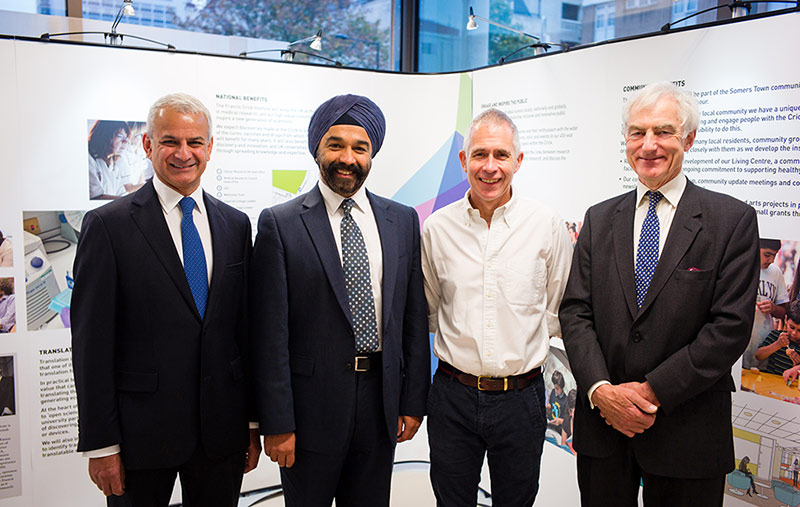 Elsevier CEO Ron Mobed with Harpal Kumar, DSc, CEO at Cancer Research UK; Jim Smith, PhD, Director of Research at the Francis Crick Institute and Deputy CEO and Chief of Strategy of the Medical Research Council; and Anthony Habgood, Chairman of RELX Group, Elsevier's parent company.