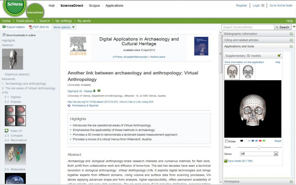 Figure 1. An article in the journal Digital Applications in Archaeology and Cultural Heritage on ScienceDirect, displayed using the three-pane view.