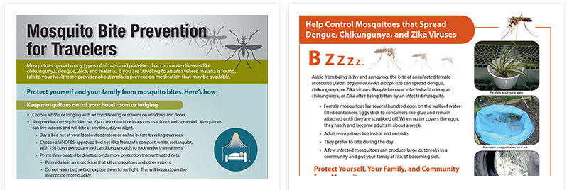 CDC posters and fact sheets on Zika virus