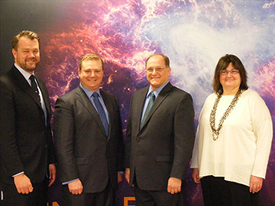 US Rep. Michael Capuano (D-MA) recently visited the new Elsevier office in Cambridge, Massachusetts, which brings together various Elsevier groups under one roof.  From left to right is: Tommy Doyle, General Manager, Research Reference; Adam Huftalen, Senior Manager of Federal Government Affairs, RELX Group; Rep. Michael Capuano (D-MA); and Emilie Marcus, PhD, CEO of Cell Press and Editor-in-Chief of <em>Cell</em>.