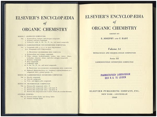 The first volume of Elsevier's Encyclopaedia, published in 1940, but not released until after World War II. (Copy from the Leiden University Library)