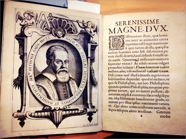 Flipping through a 1635 edition of Galileo's 'Dialogue' and other historic books