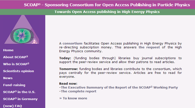 SCOAP3, the Sponsoring Consortium for Open Access Publishing in Particle Physics, facilitates open-access publishing in high energy physics.