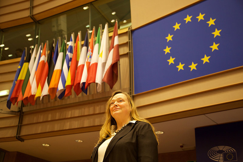 Dr. Elizabeth Pollitzer at the European Parliament, where the opening session of the Gender Summit Europe was held in November. (Photo by Alison Bert)