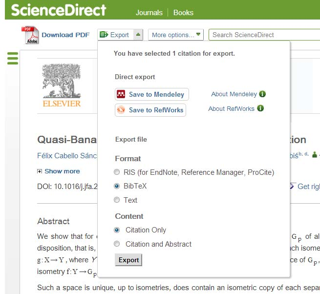 Exporting references in BibTeX format is supported by all major platforms.