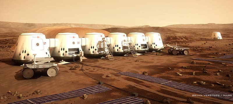 <strong>Life on Mars?</strong> That's the plan for Mars One, which plans to take its first crews to Mars in 2024. This is an artist's rendition of a Mars One colony. (Source: Bryan Versteeg for Mars One)