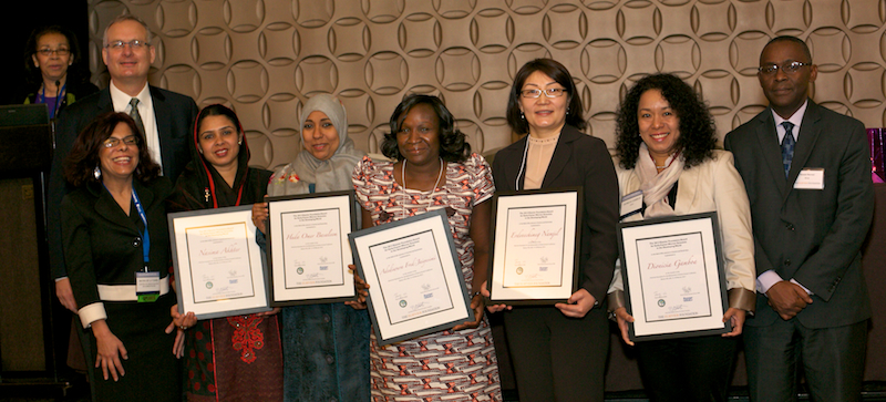 The winners of the 2013 Elsevier Foundation Awards for Early Career Women Scientists in the Developing World are (left to right) Dr. Nasima Akhter (Bangladesh), Dr. Huda Omer Basaleem (Yemen), Dr. Adediwura Fred-Jaiyesimi (Nigeria), Dr. Namjil Erdenechimeg (Mongolia) and Dr. Dionicia Gamboa (Peru). The are surrounded by David Ruth, Executive Director of the Elsevier Foundation; Professor Maya de la Torre, VP, Latin America, OWSD; and Dr. Romain Murenzi, Executive Director of TWAS. (Photos by Alison Bert)