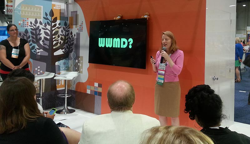 "Contributor Megan Hodge presents ""Insights from the Machiavellian Librarian"" at the American Library Association (ALA) Annual Conference in Las Vegas on June 29. ""WWMD?"" means ""what would Machiavelli do?"""