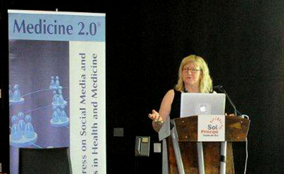 Sherri Matis-Mitchell, PhD, speaks at the Medicine 2.0 World Congress on Social Media and Mobile Apps.