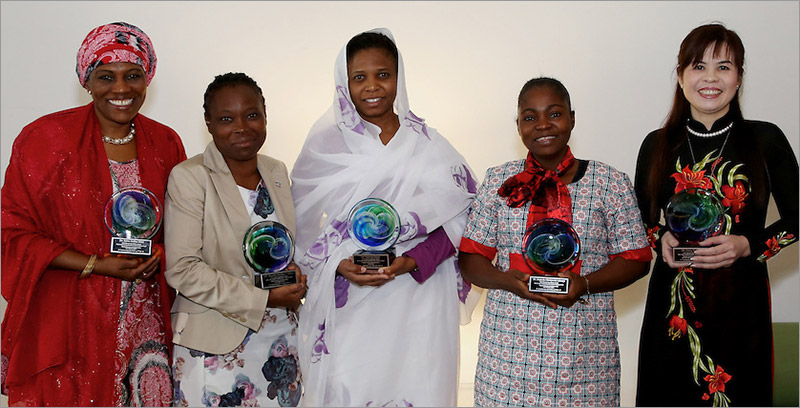 <strong>The winners of the 2015 Elsevier Foundation Awards for Women Scientists in the Developing World:</strong> Rabia Sa'id, PhD (Nigeria); Mojisola Usikalu, PhD (Nigeria); Nashwa Eassa, PhD (Sudan); Mojisola Adeniyi (Nigeria); and Dang Thi Oanh, PhD (Vietnam) — Photos by Alison Bert