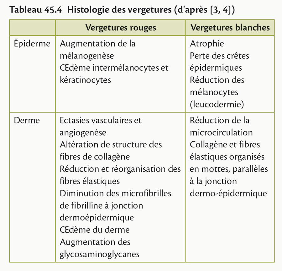 Tableau 45.4 Histologie des vergetures (d'après [3, 4])