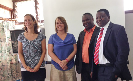 At Mzumbe University from left to right: Maaike Duine (project manager VSO); Charon Duermeijer, PhD; Romanus Dimoso, PhD (Director of Directorate of Research, Publications, and Postgraduate Studies, DRPS); and Prof. Faustin Kamuzora (Deputy Vice Chancellor).