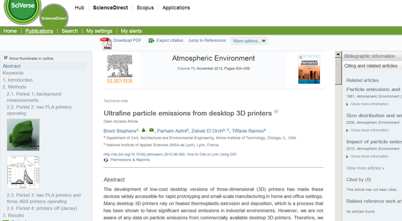 Ultrafine particle emissions from desktop 3D printers
