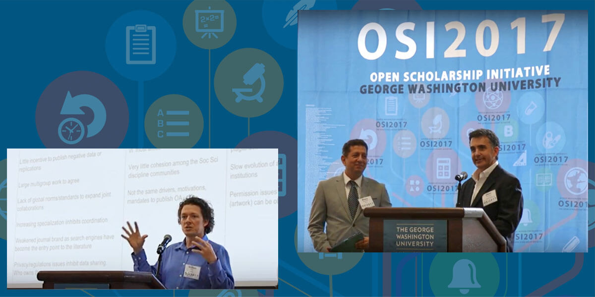 At OSI2017, OSI Program Director Glenn Hampson introduces Dr. Bhanu Neupane, UNESCO's Programme Manager for ICT and Sciences and Open Access to Scientific Research. At left, Dr. William Gunn, Elsevier's Director of Scholarly Communications, presents.