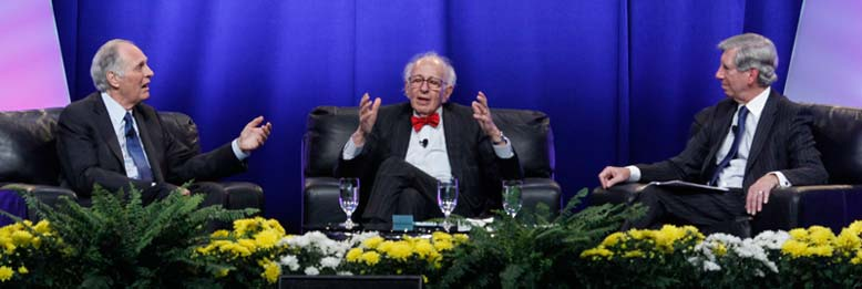 "Emmy-Award winning actor Alan Alda, Nobel laureate Eric Kandel, MD, and American Psychiatric Association President Jeffrey Lieberman, MD, open the APA Annual Meeting with a ""Dialogue on Science, Psychiatry and the Media."" (Photo by David Hathcox/Psychiatric News)"