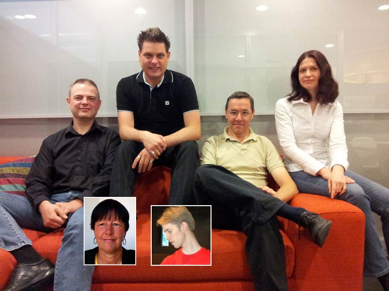 <strong>The Article of the Future User Centered Design Team team</strong>   (main photo, left to right): Stefan Kuip (UCD software developer), Rogier Barendregt (UCD front-end designer), Frans Heeman (project manager and UCD lead for Psychology & Cognitive Science), Elena Zudilova-Seinstra (UCD lead for Paleontology and Mathematics/Computer Science). Headshots: Beate Specker   (UCD lead for Electrochemistry) and Martijn Klompenhouwer (UCD lead for Parasitology & Tropical Diseases, Materials Science and Business Management).