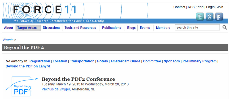 Force 11 Beyond the PDF2 conference