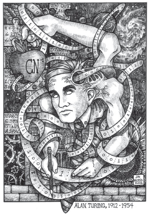 The Turing Machine concept was the precursor of the modern computer. This is Jin Wicked's image of Alan Turing as a universal Turing machine, courtesy of Jin Wicked.