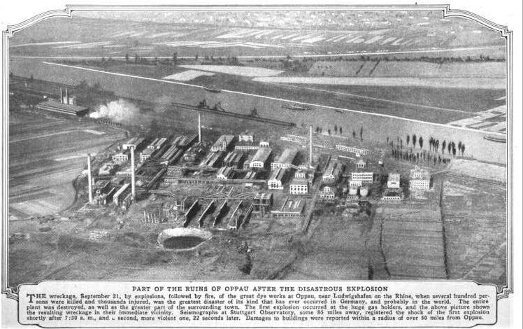 Photograph of the damage from the Oppau Explostion circa 1921, from Popular Mechanics Magazine (Source: Wikimedia Commons)