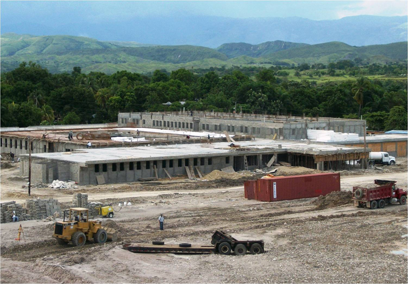 Mirebalais Hospital under construction in mid-2012. It was developed as a public-private partnership between Partners in Health and the government of Haiti in response to the government's request to PIH just after the earthquake. The photo was taken by Owen Robinson, Haiti Program Manager for Partners in Health. He said the hospital is almost finished and will open in a few weeks.