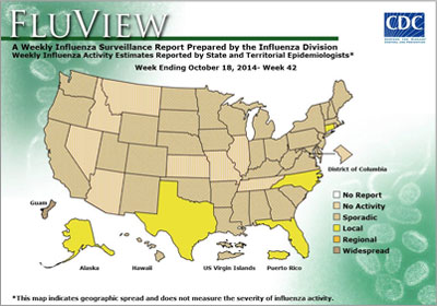 This flu map is one of many resources on the CDC flu website.