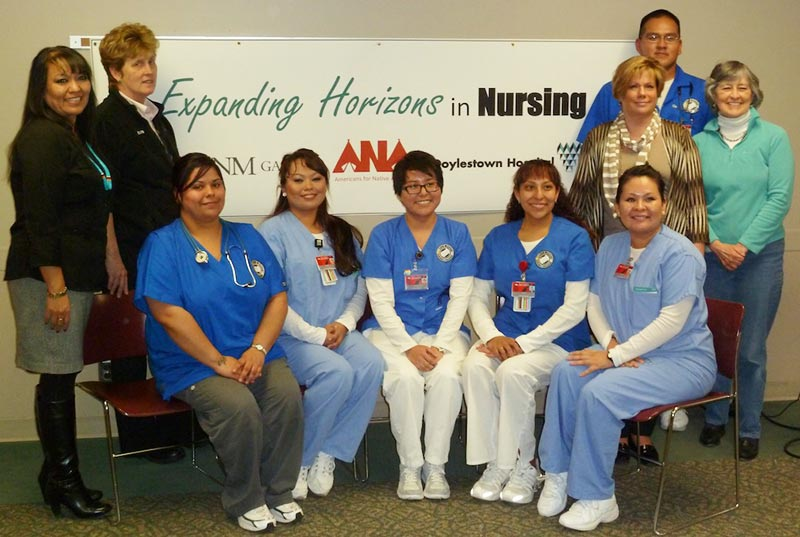 <strong>Expanding Horizons in Nursing participants</strong> (left to right): Michelle Kellywood-Yazzie, RN, MSN, UMNG faculty and ANA Board Member; Barbara Taubenberger RN, MSN, CEN, Director Emergency Services, Doylestown Hospital and ANA Board member, UNMG; Students: Dacia Cunejo, Letecia Williams, Andrea Barry, Gwen Sorrell, Onia Martin, back right Sheldon Lester, on left Cheryl L Mee, MSN, MBA, RN, Elsevier employee and ANA Board Member, and Mary Lee Reiff, ANA Secretary.