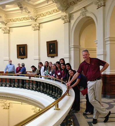 Texas State University Professor Rodney E. Rohde took students and faculty in his Clinical Laboratory Science Program to the Texas State Capitol in Austin to discuss the licensure bill with state lawmakers