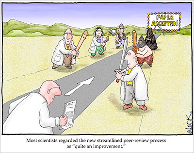 A scientist himself, cartoonist <a href=&quot;http://lab-initio.com/&quot;>Nick D. Kim, PhD</a>, takes a playful jab at the peer review process. (Used with permission)